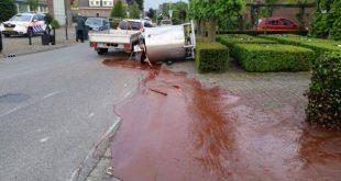 500 kilogram gesmolten chocolade over straat