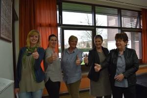 Vlnr Annelies Brosens, Kathleen De bruyn, Imelda Schrauwen, Vera Brosens, Josee Van Doren
