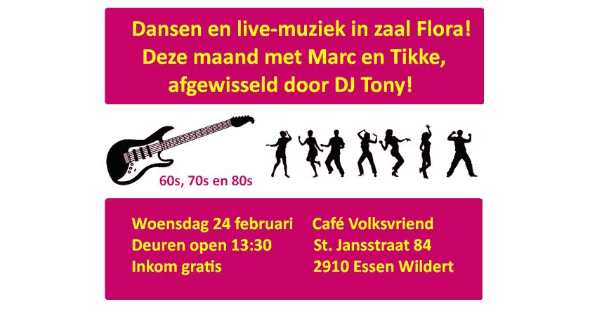Dansen en Live muziek in zaal Flora op Esen - Wildert, met Marc en Tikke