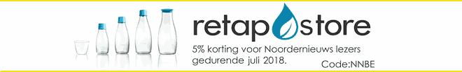 Retapstore - Hervulbare kraanwater waterflessen voor thuis en onderweg - Voor particulieren en bedrijven - Kortingsactie Noordernieuws - juli 2018