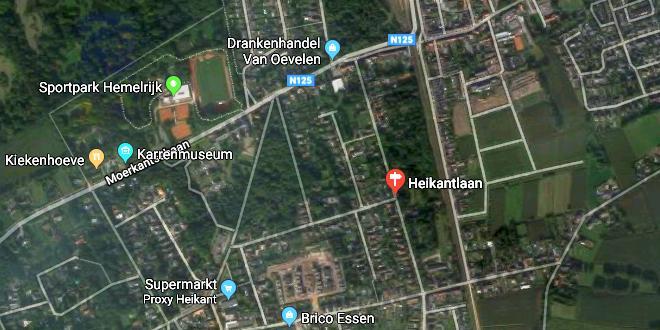 Wegtrace verkaveling Heikantlaan Essen - (c) Google Streetview
