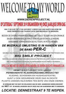 Kom naar de Opendeurdag Stichting Dier en Project en steun de dieren!affiche