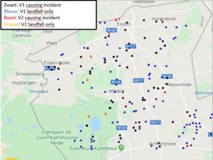 Inslagen V-bommen provincie Antwerpen in kaart gebracht kaart