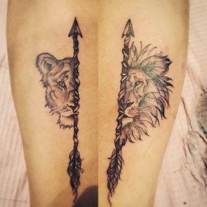 Els Deckers - Beroep Tatoeëerder - Tattoos - Tatoeage Leeuw en leeuwin - 2019