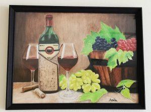 Aoi Wongwat - Hobby Kunstschilderen - Aoike - Olieverf Schilderij Wijn en Fruit