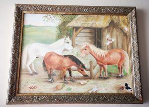Aoi Wongwat - Hobby Kunstschilderen - Olieverf Schilderij Pony's
