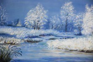 Lisette Brosens - Hobby kunstschilderen - Besneeuwde bomen